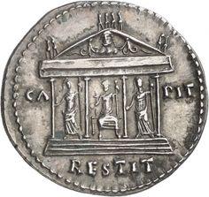 Cistophor - argento - Roma (82 d.C. Domiziano) - CA PIT RESTIT fronte del tempio Capitolino su podio con le statue di Giove, Giunone e Minerva - Münzkabinett Berlin