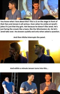 Jensen Ackles Laughing // Cockles // on stage // Misha // Misha Collins, Jensen Ackles, Jensen And Misha, Jared Padalecki, Dean Winchester, Fanfic Destiel, Drarry, Supernatural Actors, Bubbline