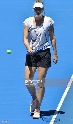 Russia's Maria Sharapova walks on court during a practice session. Mode Tennis, Melbourne, Australian Open Tennis, Maria Sharapova Hot, Maria Sarapova, Yuri, Tennis Tournaments, Tennis Players Female, Tennis Fashion