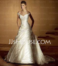 Corte A/Princesa Escote en V Cola capilla Organza  Satén Vestidos de novia con Volantes  De encaje (002004529)