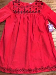 J. Khaki Kids Girls Size 4 Red Corduroy Black Embroidery Long Sleeve Dress NWT  | eBay