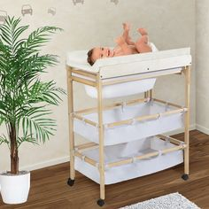 TecTake Cambiador con bañera extraída para bebés mueble cómoda estante ruedas + 2 cestas