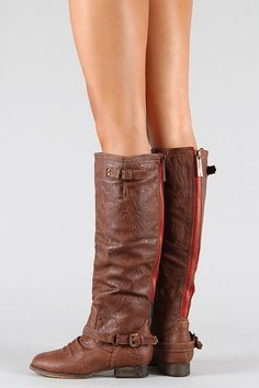 Breckelle Double Buckle Contrast Zipper Riding Knee High Boots