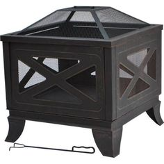 Hampton Bay 26 in. Steel Deep Bowl Fire Pit in Antique Bronze with X-Decoration, Antique Bronze Finish