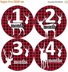 HOLIDAY SALE Baby Monthly Milestone Growth Stickers Red Black Buffalo Plaid Deer Rustic Nursery Theme MS829 Baby Shower Gift Baby Photo Prop by GinaMarieOriginals on Etsy https://www.etsy.com/listing/258370576/holiday-sale-baby-monthly-milestone