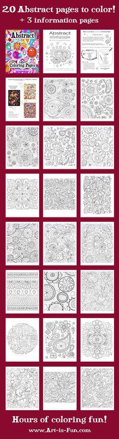 Abstrakt Malvorlagen PDF  20 druckbare leere abstrakten