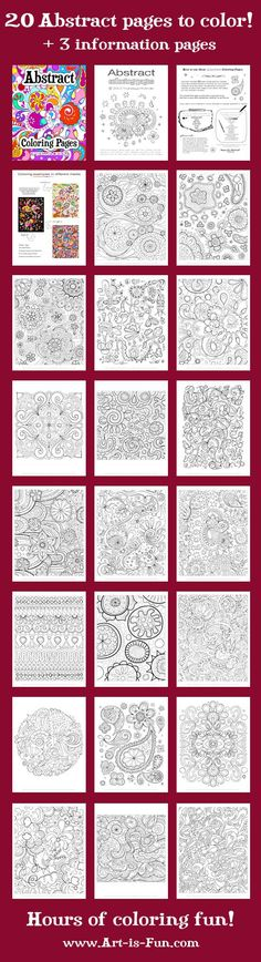 ABSTRACT COLORING PAGES...PDF 20 Printable Blank von thaneeya.