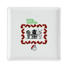 Merry Christmas Square Cocktail Plate