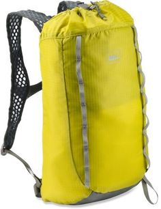 REI Flash 18 Pack. Holds a hydration bladder, and can be turned inside out as a stuff sack!