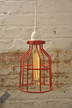 Metal Bulb Guard Apple Red Color Attack Cage Pendant by wiresNjars, $34.99