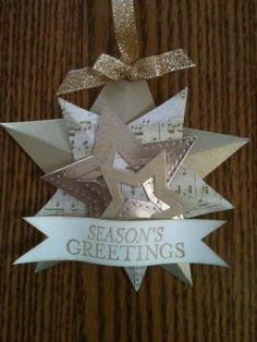starornament by Lisa Renee Wiley, Ok, this isn't all Stampin Up! paper, but I know we have similar,so I thought I'd share just for fun =) The brushed gold and the vanilla are ours as well as the stamp set and framelits ;) Bright and Beautiful, framelits, star