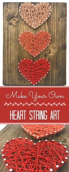 Make your own heart strong art! This would be so fun for Valentine's Day or to hang up any time of the year! Such cute DIY home decor! #ad