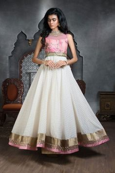 Picture of Adorable pink & off white color anarkali suit