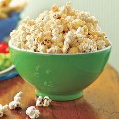 Garlic-Parmesan Popcorn  ~    3 TBS unsalted butter  2 cloves garlic, minced  2 TBS vegetable oil  1 cup unpopped popcorn $  1/2 C finely grated Parmesan  1/2 tsp cayenne pepper  Salt