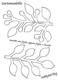 Questo cartamodello gratuito per feltro , a forma di rametto con solo foglie , oppure foglie + bacche, vi potrà servire per vari lavoretti c...