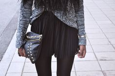 #Knit Sweater + Pleated Skirt + Tights + Studded #Leather Clutch