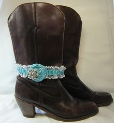 Light Turquoise Wedding garter Boot Bracelet by SheerSatinandLace Prom Garters, Boot Bracelet, Boot Jewelry, Wedding Garter, Sheer Material, Light Turquoise, Cowboy Boots, Legs, Accessories