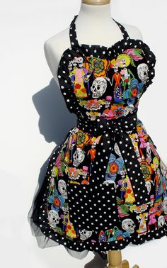 1950's Vintage Inspired Day of The Dead  Skull Apron
