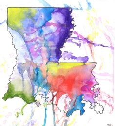 Louisiana Abstract Map    by Yvonne Jeannine