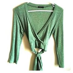 I just discovered this while shopping on Poshmark: Green sparkly crop top cardigan. Check it out! Price: $13 Size: See description