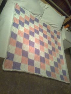 large cot/small bed blanket in solid granny and lined in fleece