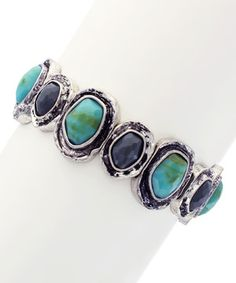Look what I found on #zulily! Silver & Turquoise Oval Stone Stretch Bracelet by Sparkling Sage #zulilyfinds