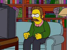 ned flanders // the simpsons Homer Simpson, Lisa Simpson, Goat Cartoon, Ned Flanders, The Simpsons, Reaction Pictures, Favorite Tv Shows, Funny Memes, Geek Stuff