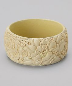Take a look at this White Carved Flower Cinnabar Bangle by KWAN COLLECTIONS on #zulily today!