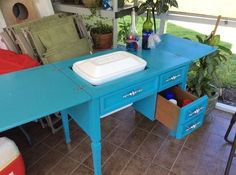 sewing table cooler copy diy, how to, outdoor furniture, painted furniture