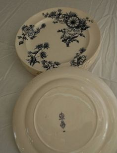 Antique George Jones and Sons Blue sparrow OVERTON china lot. Diamond registration marks consistent with 1883 registration
