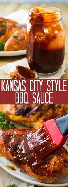 This Kansas City Style BBQ Sauce is the perfect finishing touch to your grilled foods. It's rich, thick, sticky and sweet just like it should be!
