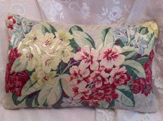 Vintage pillow cover Hawaian flowers lovely vintage Jaquard fabric Pillow is…