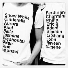 """Two of the couples are messed up on here, but I want to make these myself and add """"Stacey"""" and """"Tom"""" to the bottom of each list for the shirts we'll wear to Disneyland after we get married! <3"""