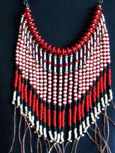 Native American necklace in red dark green by MontanaTreasuresbyMJ