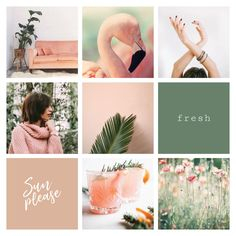 Pink and green moodboard designed by Amari Creative Likes No Instagram, Instagram Feed Tips, Instagram Feed Layout, Pink Instagram, Instagram Grid, Instagram Design, Summer Feed Instagram, Tableaux D'inspiration, Graphisches Design