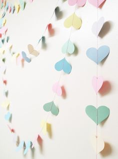 10 ft Candy Hearts Pastel Paper - valentines, wedding decoration, bunting, photo prop. $10.00, via Etsy.