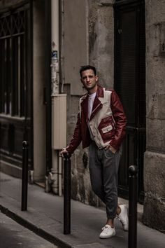 http://instagram.com/Bloggers_Boyfriend  StreetStyles, Street style, Menstyle, Mensfashion, Biker Jacket, Bally, Colour block red bike leather jacket, BloggersBoyfriend, Paris. Interesting red Biker Jacket