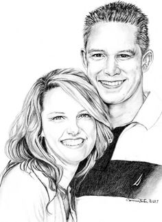 A graphite portrait done for couple's upcoming wedding. Aren't they beautiful? :-) by Connie Baten