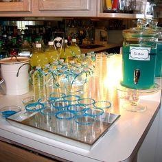 Sodas, Lemonade, Water, Sea Water (Blue Hawaiian Punch) and Blue Sugar Rimmed Cups! Cute ocean themed shower or birthday idea #Home