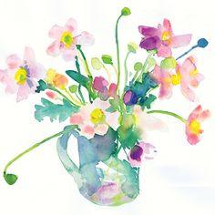 Anemones in a jug Watercolor by Diana Fegredo