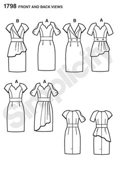 Simplicity 1798 Misses' dresses with bodice, sleeve and drape variations. Project Runway Collection