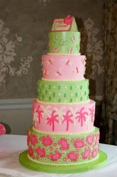 Lilly Pulitzer inspired cake! Maybe with Elephants on bottom instead, and the usual elephant topper? :)