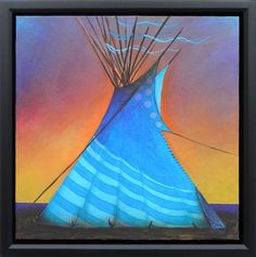 """Plateau Sunset"" - Acrylic painting of teepee by Native American artist Micqaela Jones. Wildlife Paintings, Park Art, Native American Artists, Colorful Artwork, Western Art, Art Market, Artist Painting, Indian Art, Nativity"