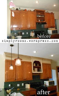taking kitchen cabinets to ceiling height. -- Have always loved this idea, make use of the space!