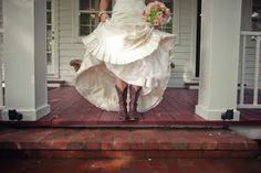 cowboy boots with a wedding dress