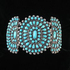 Cuff | Designer ? ~ Zuni Petit Point Cluster.  138 natural American turquoise stones, silver.  ca. 1930s - 40s.