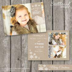 Christmas Card Template Kraft Christmas Card von StillbrookDesigns