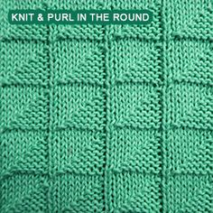 How To Knit Stitch In The Round : Block Stitch A simple pattern repeat using Knit and Purl combinations Kni...