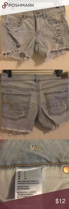 American Eagle Midi Light blue wash   Hardly used   Good condition   Price negotiable American Eagle Outfitters Shorts Jean Shorts