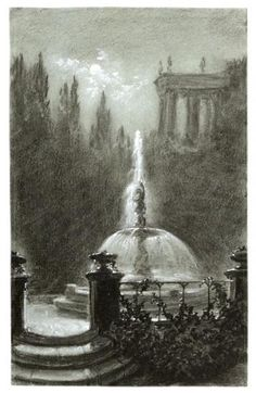Carl Gustav Carus (1789–1869) Fountain Before a Temple Charcoal, heightened with white gouache, on blue-gray paper